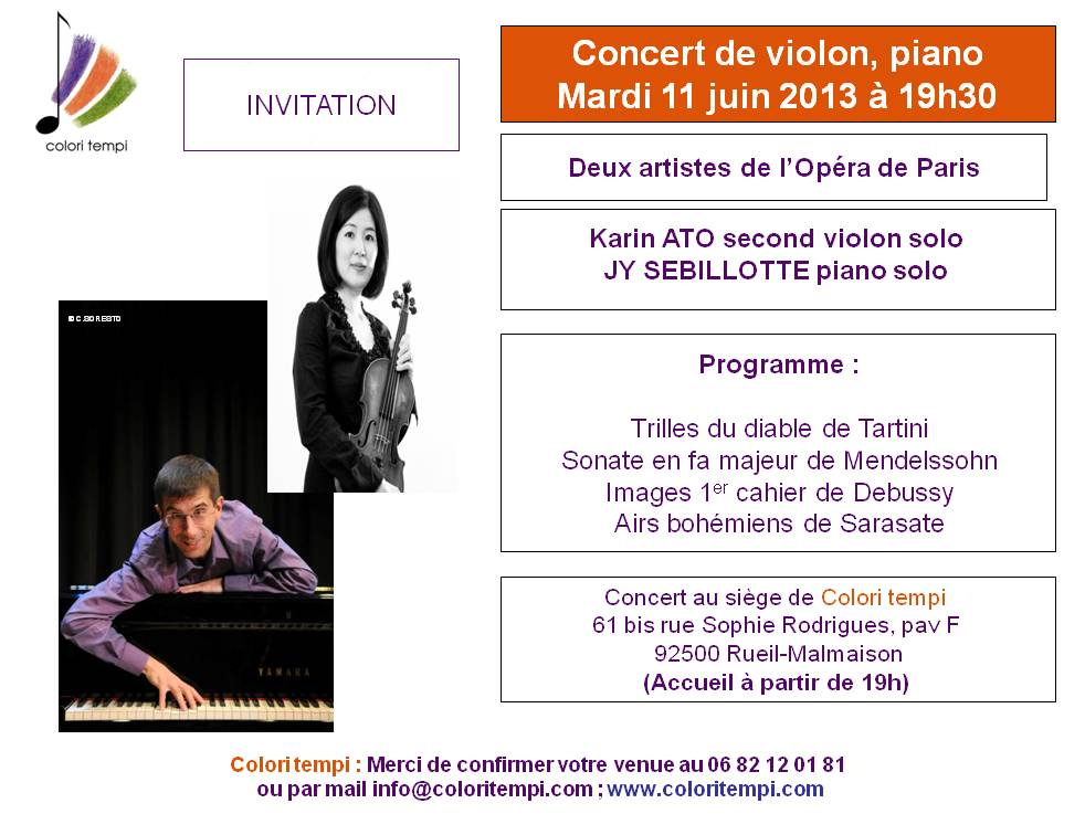 colori tempi concert domicile piano et violon le 25 juin 2013 19 h 30. Black Bedroom Furniture Sets. Home Design Ideas